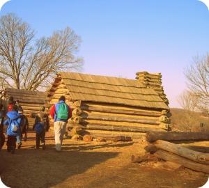 Las cabañas de los soldados en Valley Forge, Pennsylvania. Vida en PA